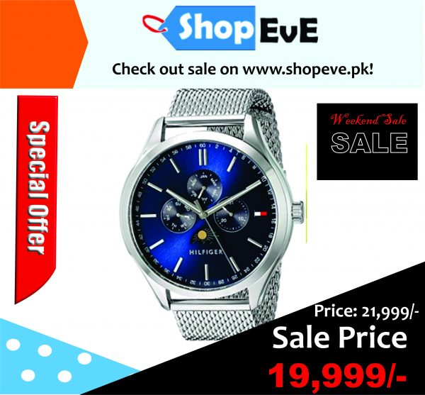 ommy Hilfiger Men's 'Oliver' Blue Dial Moon-Phase Chrono