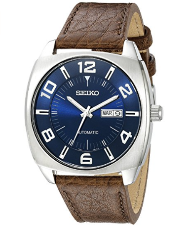 46a82489b Seiko Men's Blue Dial Brown Leather Strap Automatic Watch - Online ...